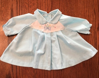 70s Baby Blue Dress 6/9 Months