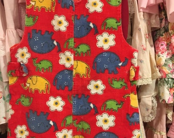 70s Elephant Overalls 12/18 Months