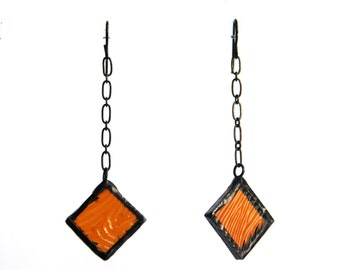 Dangle Earrings- Ambered Color- Stained Glass Earrings- Artistic Earrings-Girlfriend Gift-Gift for Her- Contemporary Earrings- Glass Jewelry