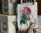 Roses I Fabric Collage Tag with poem