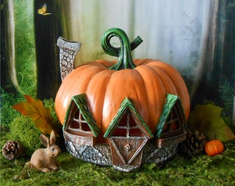 Lighted Pumpkin Fairy House~Fairy Garden House~Miniature Garden~Pumpkin~Fairy House~Autumn Decor~Halloween~Fiddle Head Fairy Collection