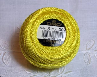 DMC Pearl / Perle Cotton Thread Balls Size 8 Lemon 307