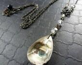 Gaze ~ Lover's Eye necklace ~ vintage chandelier crystal teardrop ~ OOAK