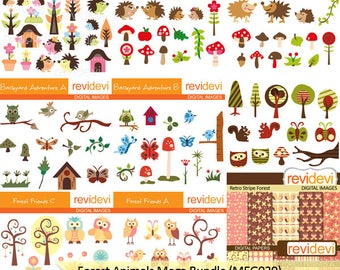 Forest Animals clipart big mega bundle - birds, hedgehogs, owls, squirrels clip art - instant download, commercial use
