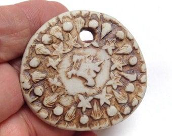 Vintage PERUVIAN CLAY Focal Necklace PENDANT 50mm cb156