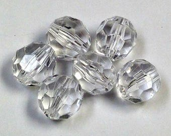 Vintage LUCITE BEADS Faceted Colorless PKG4 14mm res188