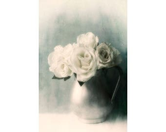 White Rose Art Print,  Still Life Photography, Rose Photography, Flower Wall Decor