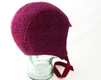 Aviator Hat in Burgundy and Fuchsia Woven Wool - Womens, Kids Hat, Winter Hat, Warm Hat, Winter Cycling, Gift for Her, Pink Hat, Colorful