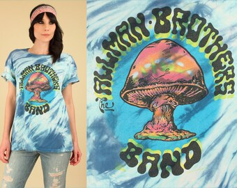 Allman Brothers Band Tie Dye T-Shirt ViNtAgE 80's Tie Dyed // Concert Blue Tee Rock n Roll Blues Shrooms Mushroom the 60's