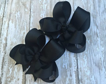"""Black Pigtail Bows Girls Hair Bows Black Boutique 3"""" Double Layer Hairbows Set of 2 Pigtail Bows Black Pigtail Bows Black Hair Bows"""