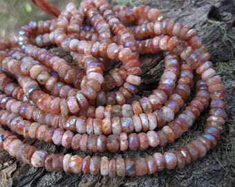 Mystic AB Sunstone Faceted Rondelles - 6 1/4 inches - 5mm X 2mm
