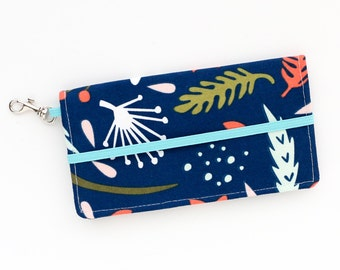 iPhone Cell Phone Wallet - Navy Fall Floral Print - Custom Cell Phone Case - Smart Phone Wallet