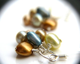 Colorful Earrings . Elegant Earrings . June Birthstone Earrings . Cluster Pearl Earrings . Multi Color Earrings - Landscape Collection
