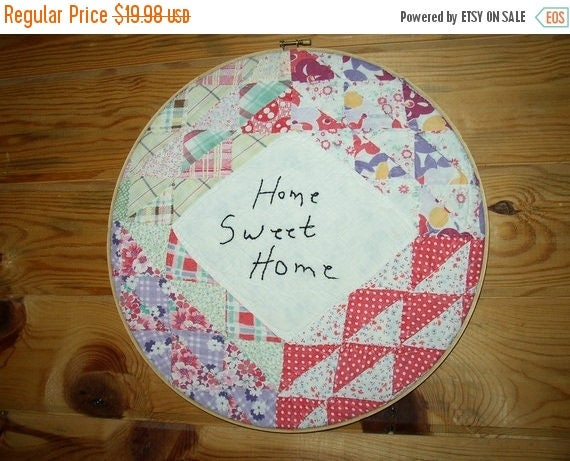 25 percent off sale sale Heirloom Quilt HOME SWEET HOME wall art   Where Rustics Reign   cplg ab4b etsy folk