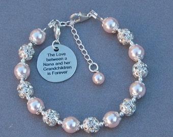 Nana Grandchildren Gift, Nana Jewelry, Nana's Love, Nana Gift, Granddaughter Gift, Phrase Jewelry, Under 25