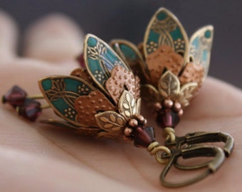 Valentine Gift, Dangle Flower Earrings, Wife Gift, Gift For Girlfriend, Gift For Wife, Girlfriend Gift, Gift For Her, Valentines Day Gift