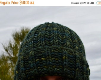 February Sale 100% Merino Wool Hand Knit Hat - Super Soft Handdyed Dark Green Variegated Woolen Knit Navigator Hat. Thick Soft Knit Wool Bea