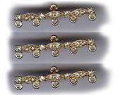 fancy vintage RHINESTONE CONNECTOR findings, one hole to five hole, THREE antique goldtone rhinestone glitzy connectors