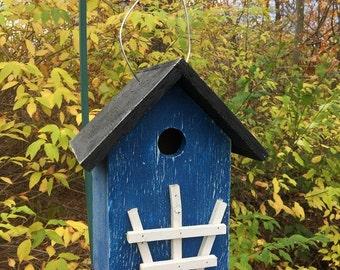 Blue Primitive Birdhouse White Trellis Country Charm