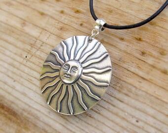 Sun necklace Celestial silver pendant leather cord necklace Bohemian jewelry