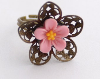 Pink Flower Ring, Spring Floral Jewelry, Adjustable Brass Filigree Ring, Fun Pink Ring, JewelryFineAndDandy, Spring Accessory Spring Jewelry