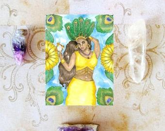 Spiritual Goddess Art Oshun Prayer Card Pagan Fantasy Art Voodoo Santeria Goddess Divine Feminine Pagan Hoodoo Altar Mythological Altar Art