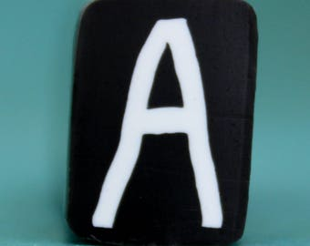 SMALL Polymer Clay Letter A Cane -'Alphabet Soup' series (14ee)