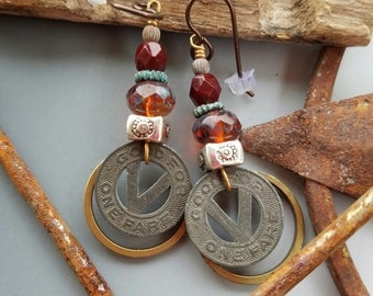 Vintage Bus Token Earrings with Mixed Metal and Glass Accents