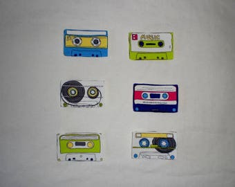 Cassette Tape Iron on Patches Applique DIY No Sew Retro 80s Mix Tape