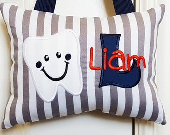 Tooth Fairy Pillow - Gray and White Stripe