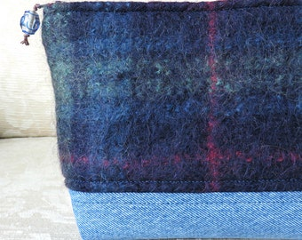 SALE! Blue Plaid Mohair and Denim Zip Pouch, Eco Friendly Upcycled Sweater Wool and Denim Clutch