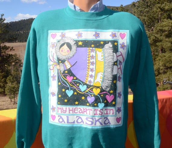vintage 90s sweatshirt ALASKA my heart folk art inuit eskimo crewneck Medium Large teal