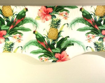 Tropical  Valance, Curved Window Treatment, Palm Valance, Parrot, Beach House Valance, Tommy Bahama Fabric, Beach Decor, Summer Decor