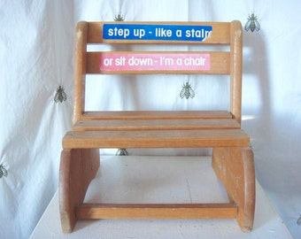 Vintage Child's Convertible Bench and Step Stool, Wood, Seat, Mid Century