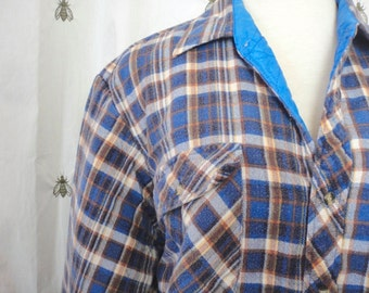 Vintage Men's Flannel Work Shirt with Quilted Lining, Blue Plaid, Northwest Territory, Size Large