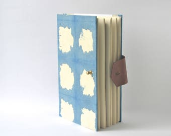 Blue & White Journal with Reclaimed Leather, Hard Cover Sketchbook with Hand Dyed Covers, Handbound Two-Tone Blue Journal
