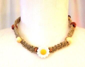 Daisy necklace, Hemp choker necklace,Girls necklace,Grateful Dead necklace,Dancing bear necklace,hippie jewelry, grateful dead Hemp necklace
