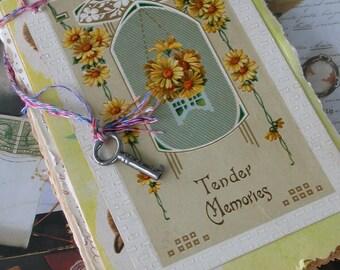 Hand Bound Junque Journal-Antique Ephemera-Tender Memories