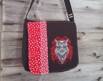 Red owl flap for MEDIUM messenger bag, changeable flap collection**FLAP ONLY**