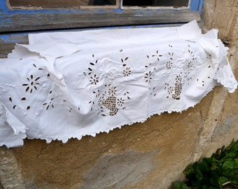 Vintage Antique 1900 French chateau Shabby chic white embroidered linen pelmet /mantelpiece /curtain