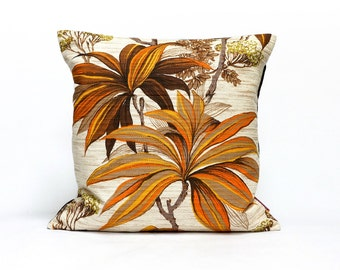 70s Fabric Pillow Cover, Botanical, Retro cushion, Throw Pillow, mid century modern, home decor, Accent Pillows, Handmade by EllaOsix