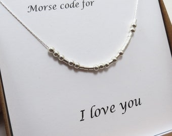 Morse Code Necklace & Card SET - Gold Filled or Sterling Silver - Hidden Message Gift Jewelry  Morse Code Love Jewelry Bridesmaids Necklace