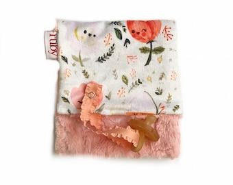 Happy Floral Minky Binky Blanket