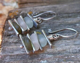 Stacked Sea Glass Earrings