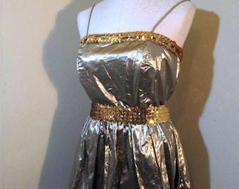Golden 80s Metallic dress Sequin belt gathered skirt vintage Gold dress 80s Party Dress Spaghetti Strap Gold metallic dress 80s prom dress m