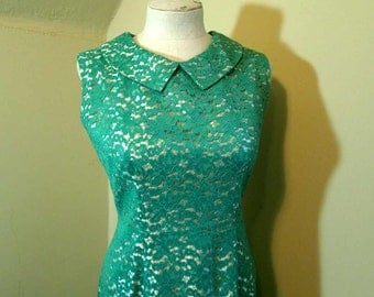 Vintage Lace dress 60s Jade Lace Mod dress Green Vintage fitted shift dress Jade green 60s mini dress S M