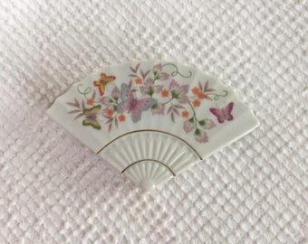 Vintage Porcelain Box with Lid in Pretty Fan Shape with Flowers and Butterflies - Made by Avon 1980 - Perfect for Jewelry and Gift Giving