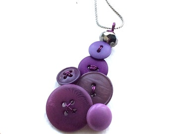 Purple cluster Vintage Button Jewelry Pendant Necklace