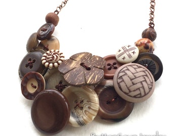 Earthy Tribal Brown Vintage Button Large Statement Necklace - Rustic Brown and White Pattern