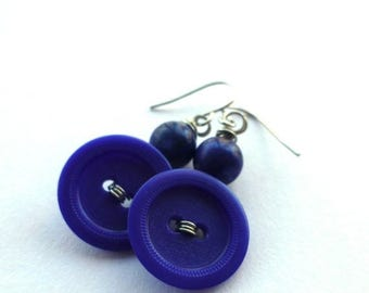 Spring Sale Navy Blue Earrings - Repurposed Vintage Button Jewelry
